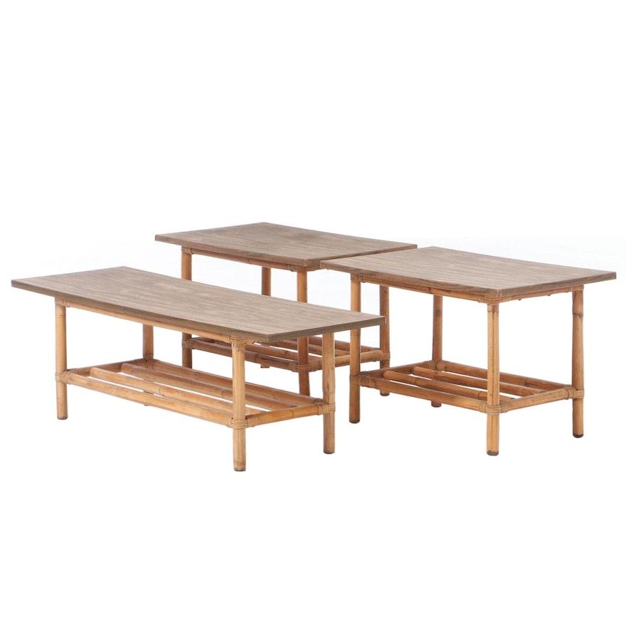 Three-Piece Rattan and Laminate Table Set, circa 1960