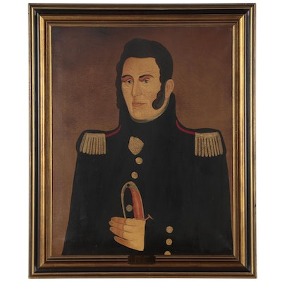 "American School Admiral Oil Portrait ""Don't Give Up the Ship - Sell It"""