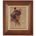 Ace Powell Oil Portrait of Native American Figure