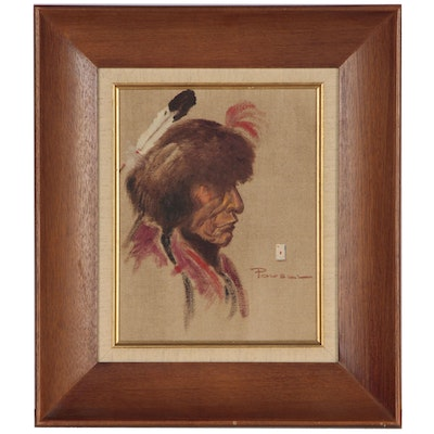 Ace Powell Oil Portrait of Native American Figure