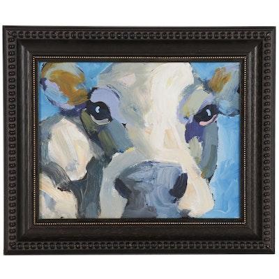 Elle Raines Oil Portrait of Cow