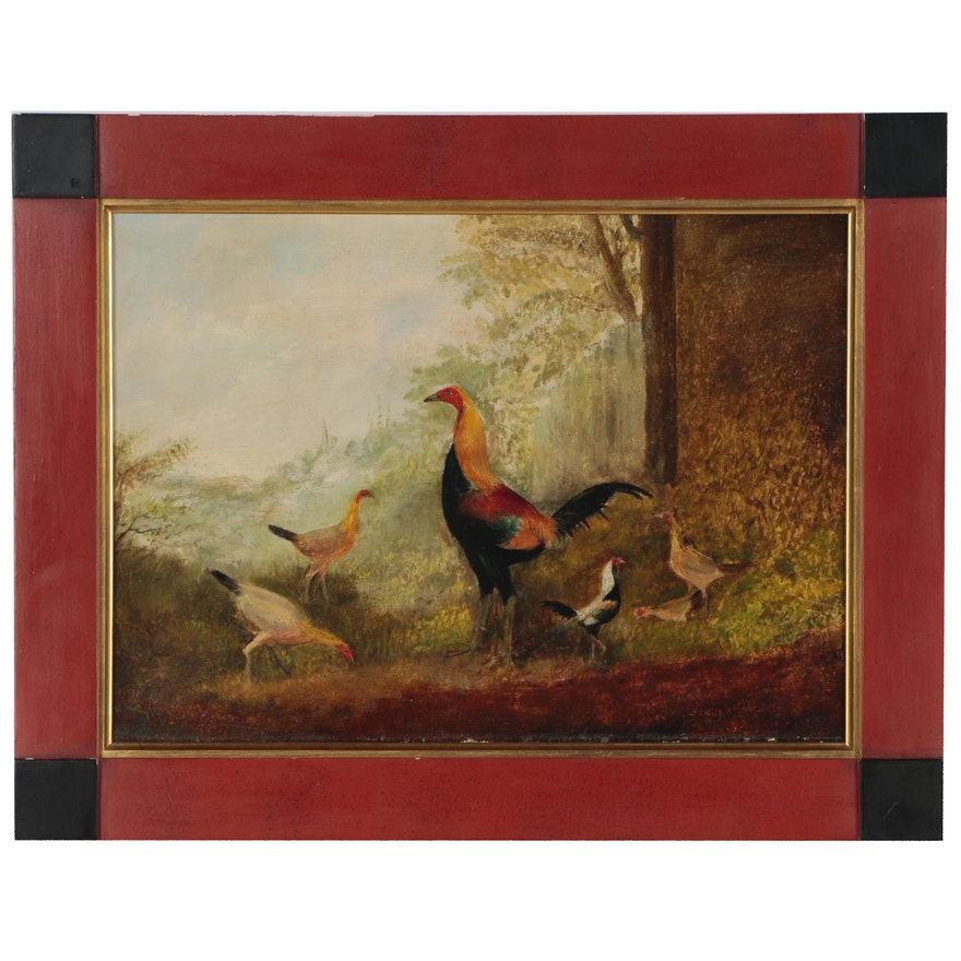 Oil Painting of Chickens, Early 20th Century