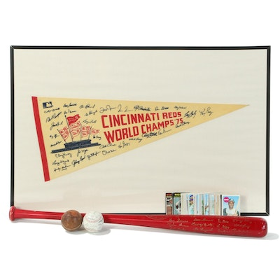 Cincinnati Reds '75 Pennant, '76 Red Bat with Other Baseball Collectibles