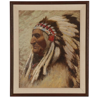 Carl Abel Oil Portrait of Native American Chief, early 20th century