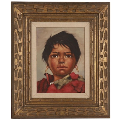 Oil Portrait of Native American Child, Signed Mayer