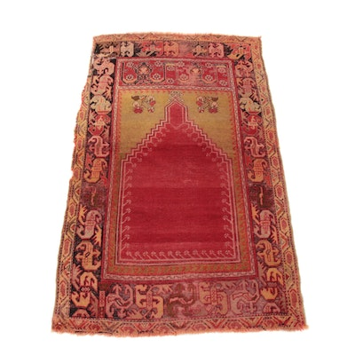 3'4 x 5'8 Hand-Knotted Turkish Village Prayer Rug, 1880s