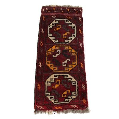 1'5 x 3'7 Hand-Knotted East Turkestan Turkoman Rug, 1920s