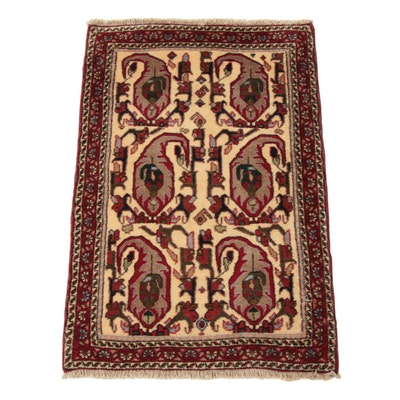 2'1 x 3'2 Hand-Knotted Persian Malayer Rug, 1970s