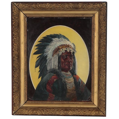 Oil Portrait of Native American Chief, Early 20th Century