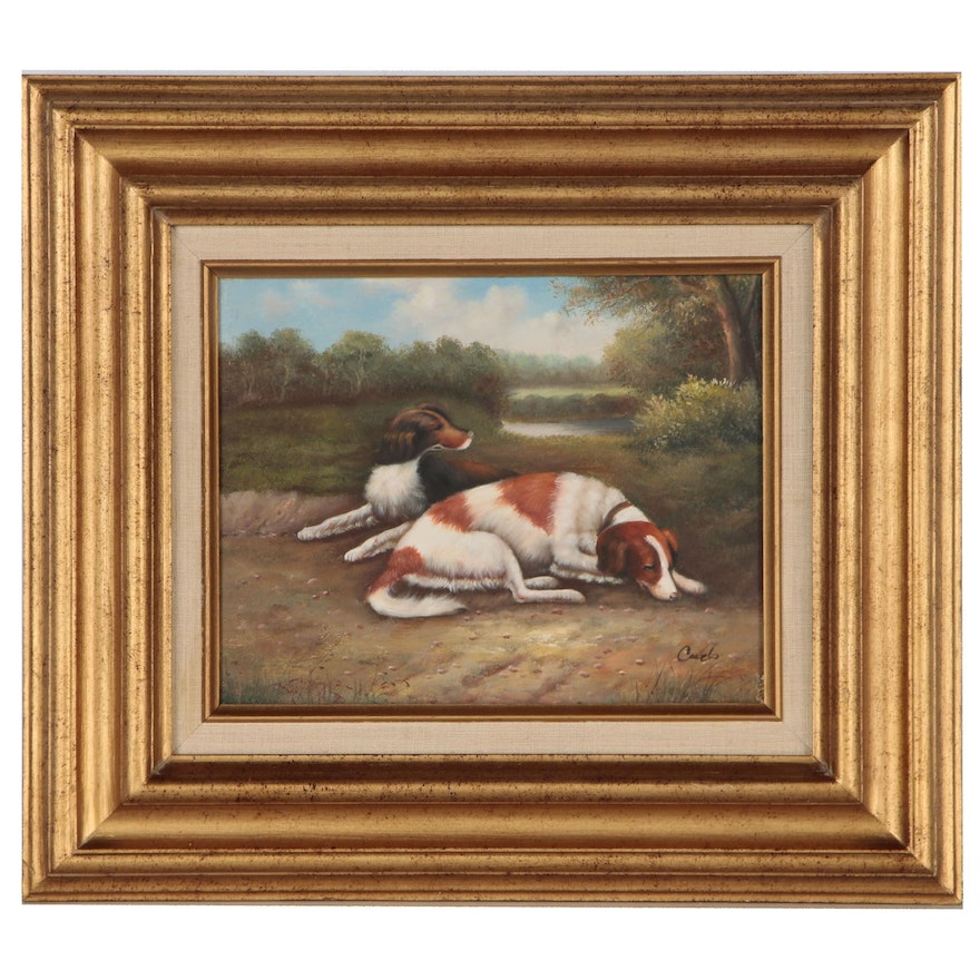 Oil Painting of Resting Dogs