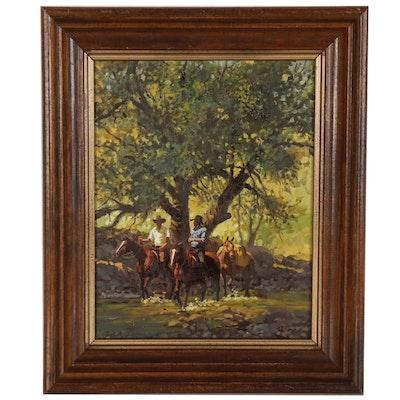 John Leone Oil Painting of Figural Western Scene