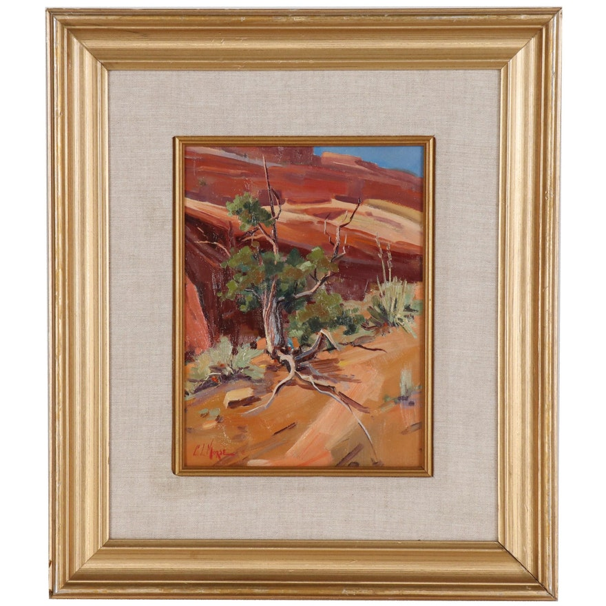 C. Leroy Morse Oil Painting of Western Landscape