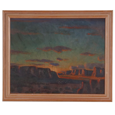 Western Landscape Oil Painting, Late 20th Century