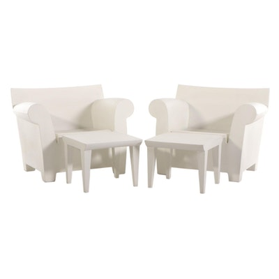 """Philippe Starck for Kartell Pair of """"Bubble Club"""" Chairs and End Tables"""