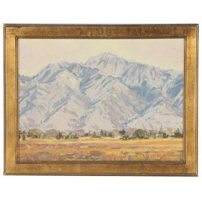 "Steven J. Heward Oil Painting ""A Winter Morning View of Long Peak"", 2006"