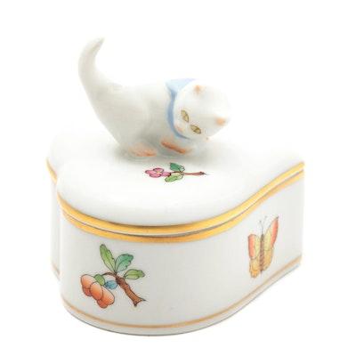 "Herend ""Queen Victoria"" Porcelain Heart Shaped Trinket Box"