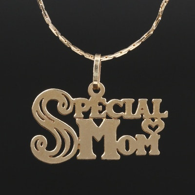 """14K Yellow Gold """"Special Mom"""" Pendant on Cobra Link Chain Necklace"""
