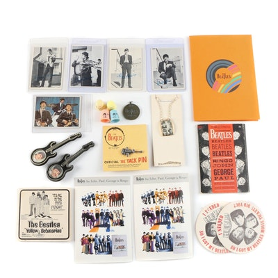 """The Beatles"" Souvenir Music Collectibles, Necklace, Wallet, and Cards, 1960s"