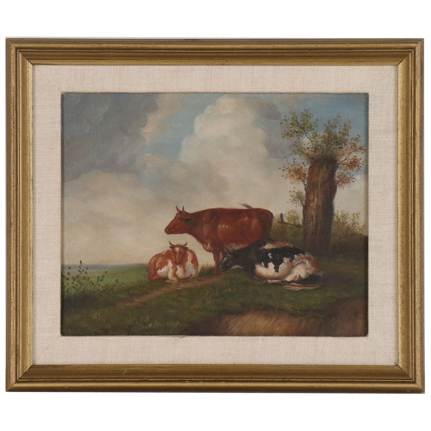 Oil Painting of Cows, Late 20th Century