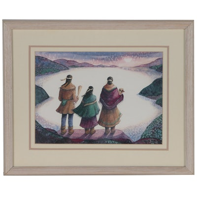 Tori Garretson Watercolor Painting of Native American Figures
