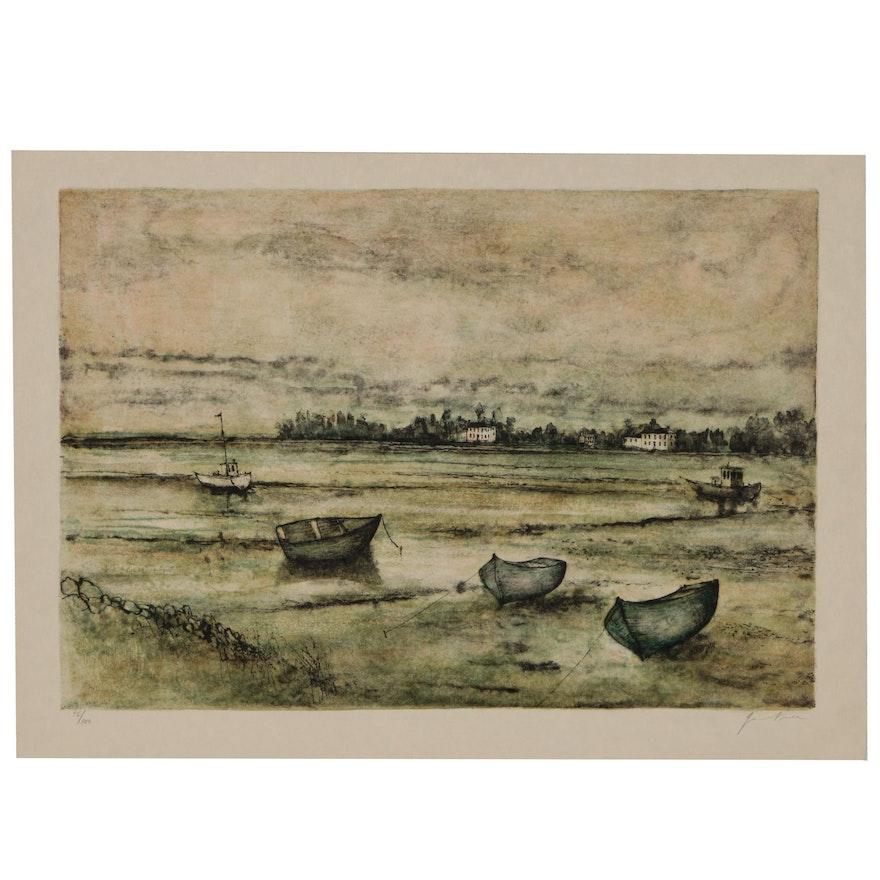 """Bernard Gantner Lithograph of Coastal Scene """"Marée Basse"""""""
