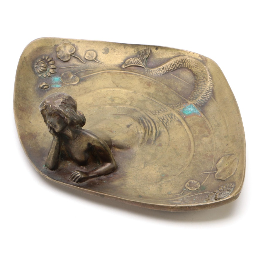 Art Nouveau Brass Mermaid Dresser Tray