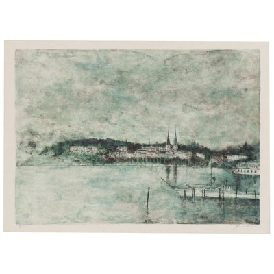 "Bernard Gantner Lithograph ""Lac Romanitque"""
