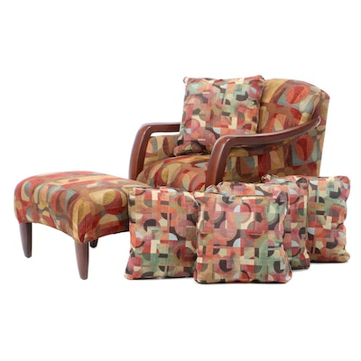 Sam Moore Art Deco Style Upholstered Chair and Ottoman, Late 20th Century