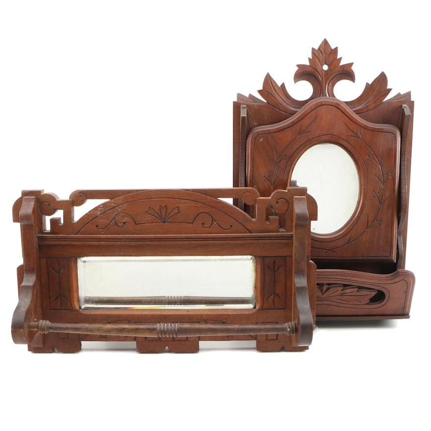 Carved Wooden Wall Mirror and Towel Bar, Vintage