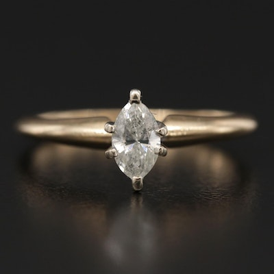 14K Yellow Gold 0.31 CT Diamond Solitaire Ring
