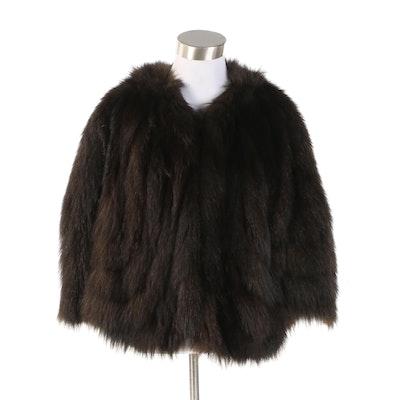 Dyed Muskrat Fur Capelet in Dark Brown Black, Vintage