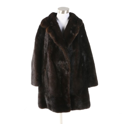 Mink Fur Coat with Wide Notched Collar from Benard's Furs San Francisco, Vintage