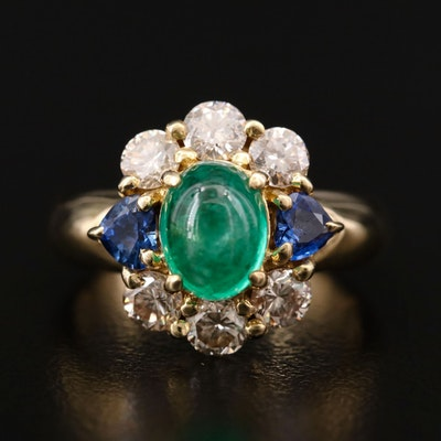 18K Yellow Gold 1.68 CT Emerald, Blue Sapphire and 1.08 CTW Diamond Ring