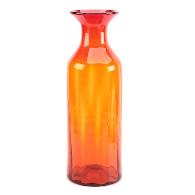 Large Red Blenko Blown Art Glass Floor Vase