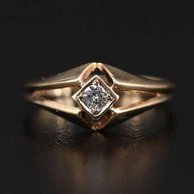 14K Yellow Gold 0.09 CT Diamond Solitaire Ring