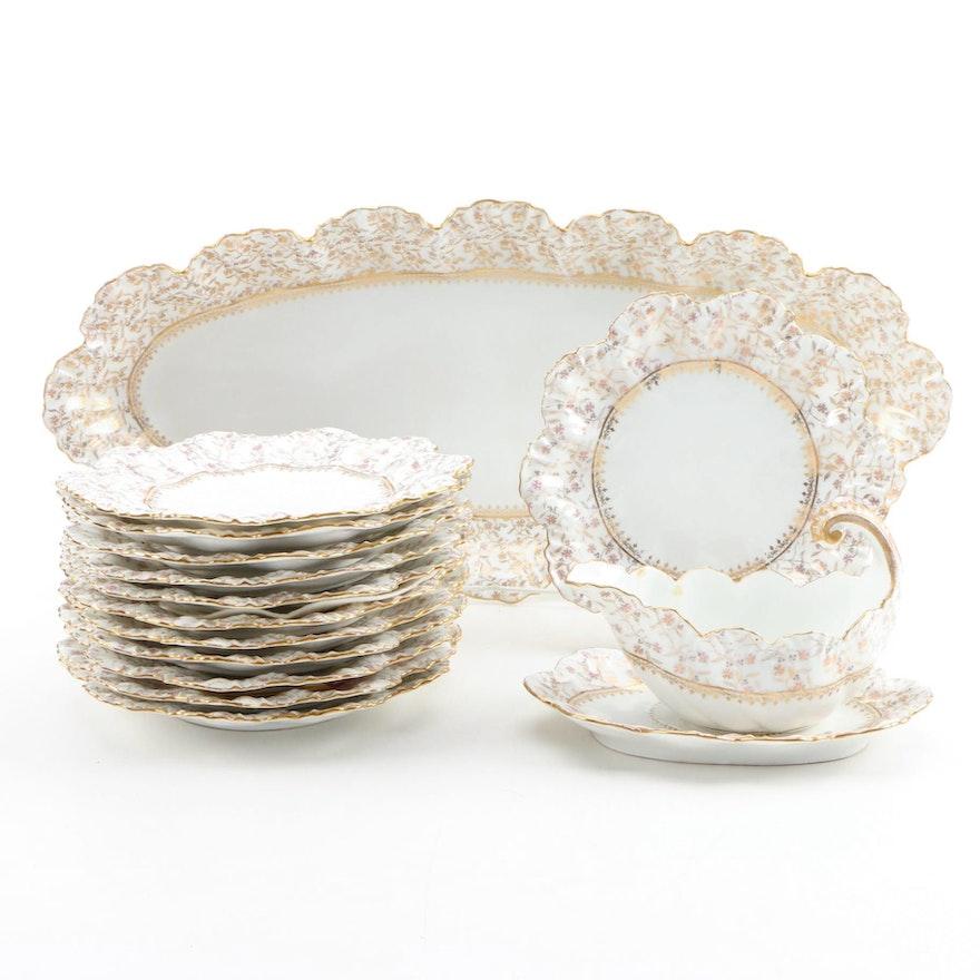 A. Lanternier Limoges Gilt Porcelain Serveware, Late 19th/Early 20th Century