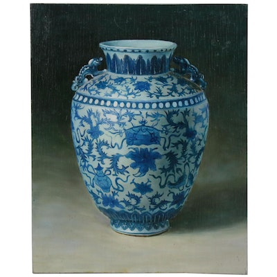 Oil Painting of Chinese Blue and White Porcelain Vessel