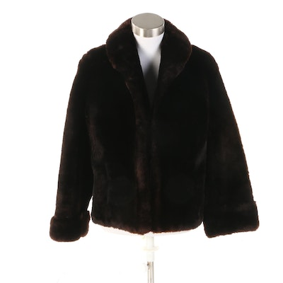 Dark Brown Sheared Mouton Fur Open Front Jacket with Turned Back Cuffs, Vintage