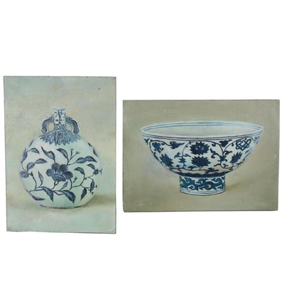 Oil Paintings of Chinese Blue and White Porcelain Vessels