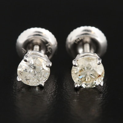14K White Gold 0.87 CTW Diamond Solitaire Earrings