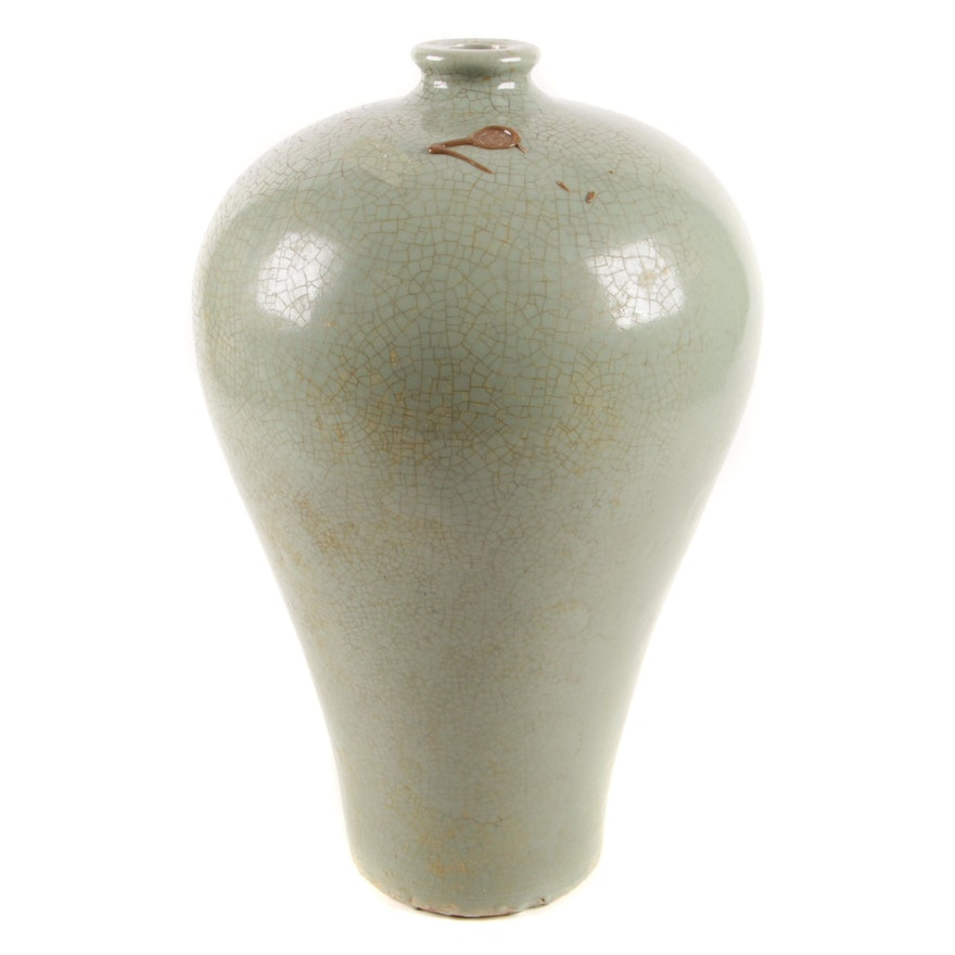 Chinese Celadon Porcelain Meiping Vase, 19th Century