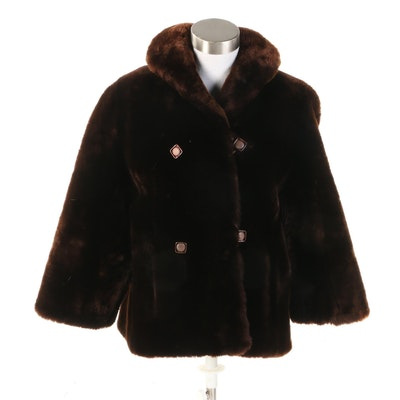 Dark Brown Sheared Mouton Fur Bracelet Sleeve Coat, Vintage