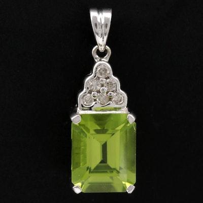 14K White Gold Peridot and Diamond Pendant