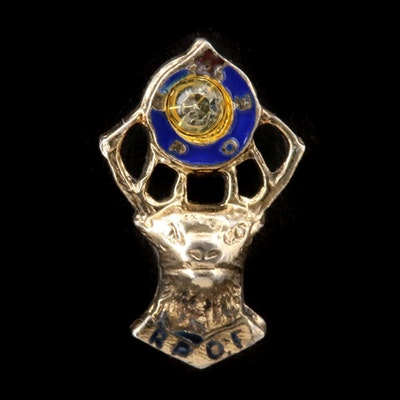 Benevolent and Protective Order of Elks Sterling Enamel and Glass Tie Tack