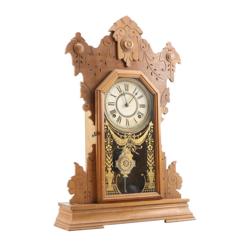Sessions Shelf 8 Day Time and Strike Gingerbread Mantle Clock, Early 20th C.