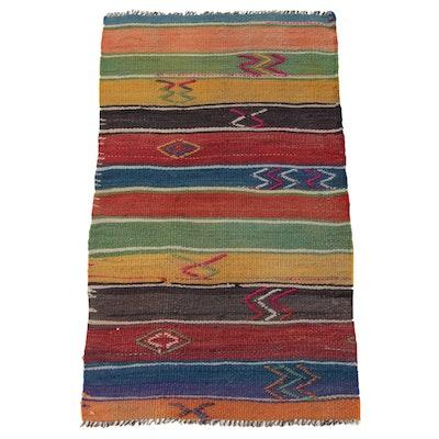 1'10 x 3'3 Handwoven Turkish Kilim Rug, 1950s