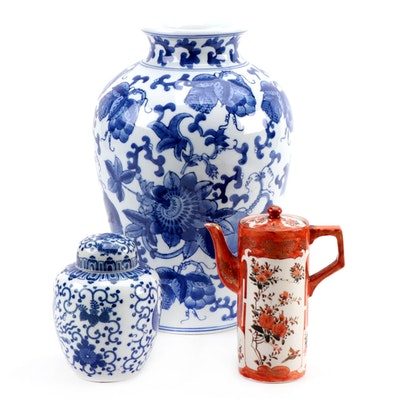Chinese Blue and White Porcelain Vessels and Japanese Teapot