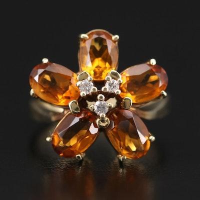 14K Yellow Gold Diamond and Citrine Flower Motif Ring