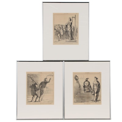 "Lithographs after Honore Daumier for ""Actualités"", Late 19th Century"