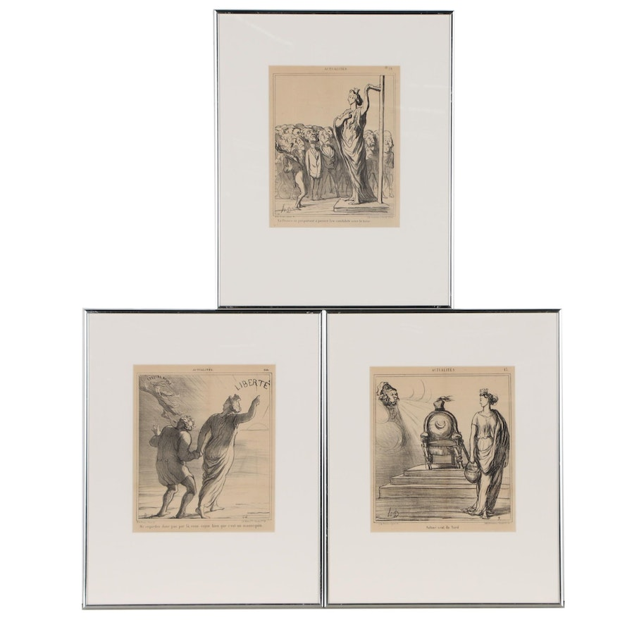 """Lithographs after Honore Daumier for """"Actualités"""", Late 19th Century"""